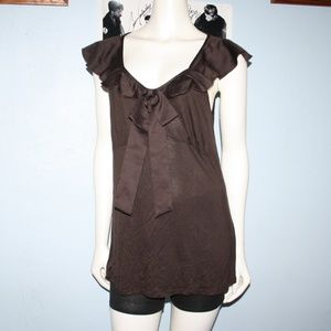 XXL Brown Top with ribbon front